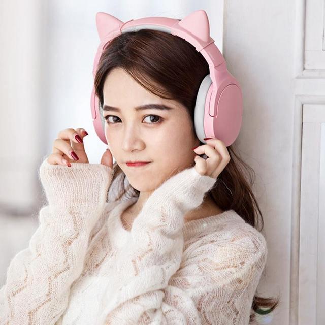 Somic SC2000BT Bluetooth oyun HiFi kulaklık pembe kedi kulak kulaklık 3.5mm/Bluetooth çift modlu HD Mic ile xiaomi PUBG
