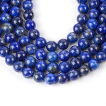 "цена Natural Lapis Lazuli Stone Round Loose Beads For Jewelry Making 4-12mm Spacer Beads Fit Diy Women's Bracelet Jewellery 15""Strand онлайн в 2017 году"