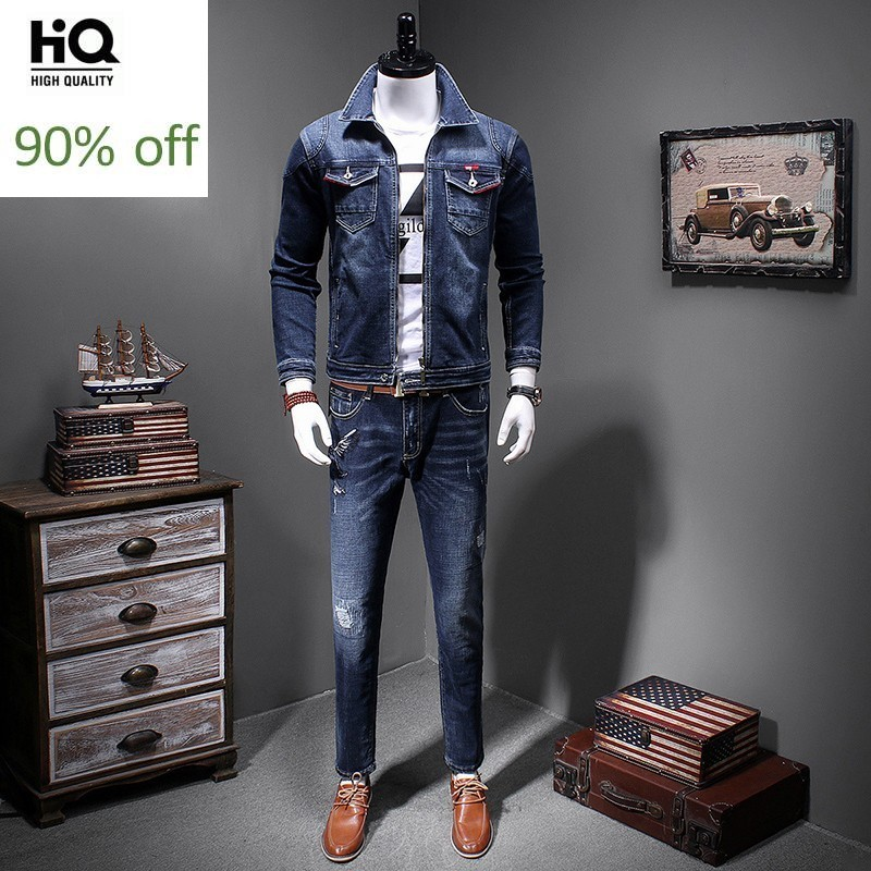 Mens Two Pieces Sets Korean Style Casual Slim Fit Zipper Fly Mens Denim Jacket Full Length Bird Embroidery Frayed Straight Pants