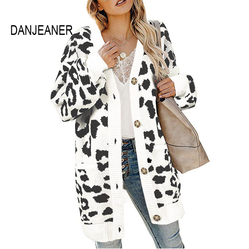 DANJEANER V Neck Single Breasted Leopard Long Cardigan Coats Women Thick Casual Knitted Sweaters with Pockets Oversized Sweater
