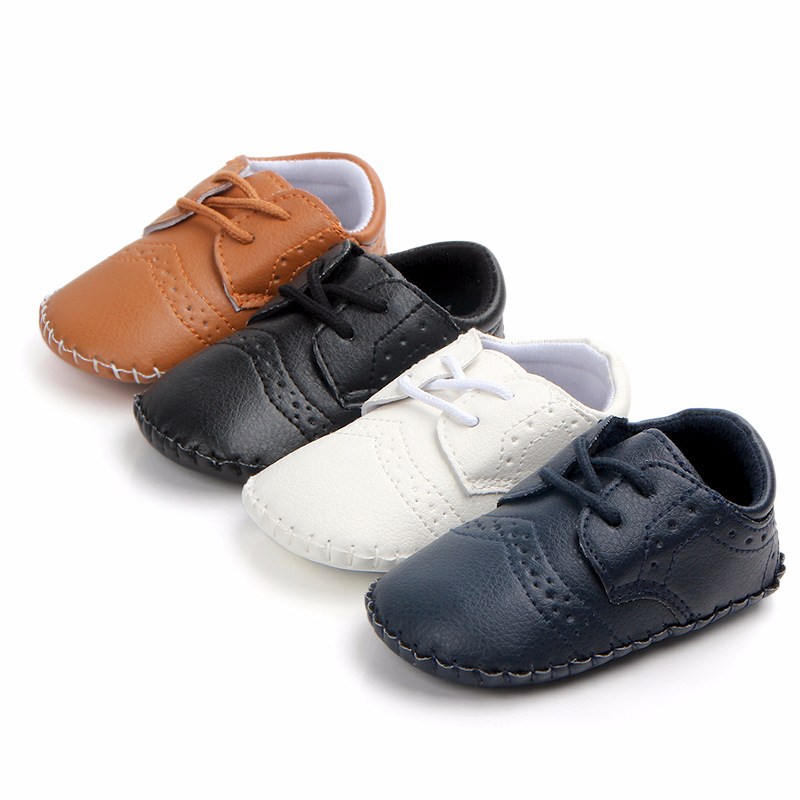 Foreign Trade New Wholesale Baby Toddler Shoes Babyshoes Handmade Stitching Environmental PU Baby Shoes 1450