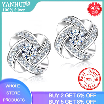 YANHUI 100% Original 925 Solid Silver Crystal Stud Earrings For Women Luxury Cubic Zirconia Wedding Earring Jewelry Accessory - discount item  95% OFF Fine Jewelry