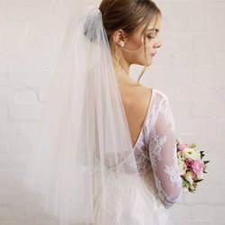 Короткая фата, Двухуровневая вуаль, длина затылка локтя, свадебная вуаль, блестящая вуаль, короткая вуаль, простая вуаль, простая вуаль
