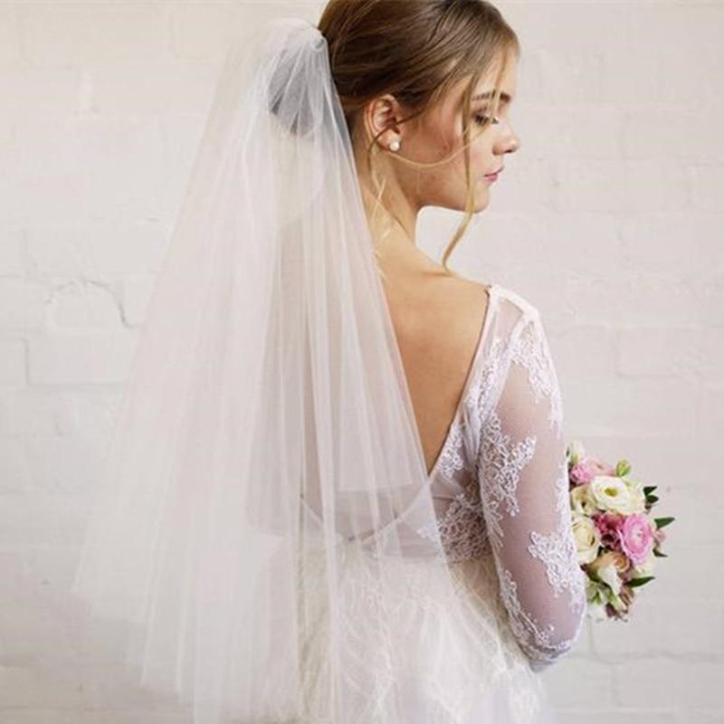 High Quality Two Layers Short Tulle , Elbow Length Veil, Bridal Veil, Blusher Veil, Short Wedding Veil, Simple Veil, Plain Veil