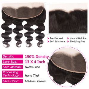 Image 2 - Unice Hair Brazilian Body Wave Lace Frontal 100% Human Hair 13x4 Ear To Ear Lace Closure Remy Hair Frontal Pre Plucked