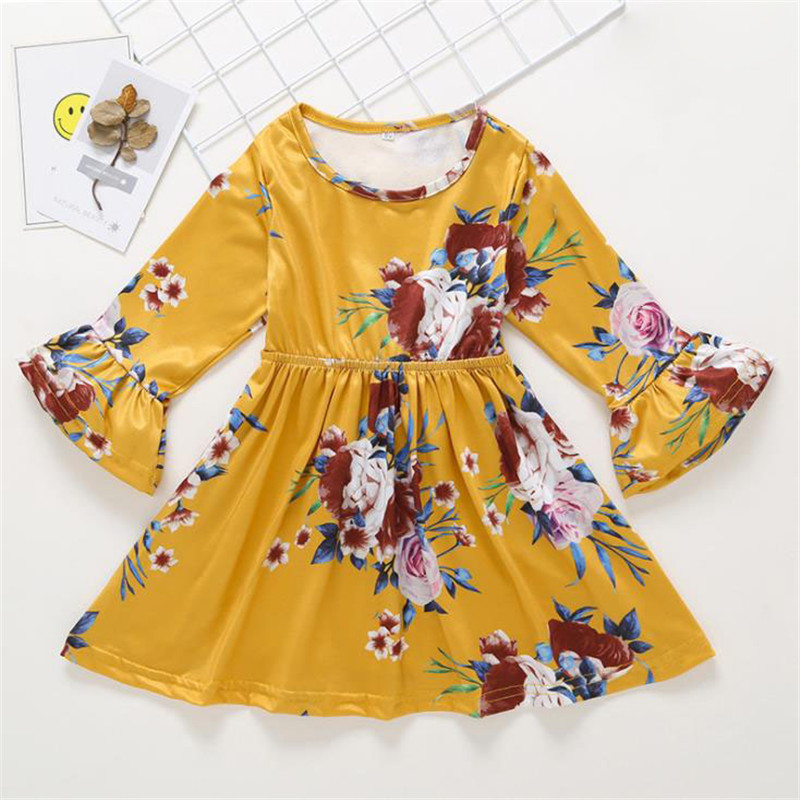 Yellow <font><b>Baby</b></font> <font><b>Dress</b></font> <font><b>Girls</b></font> Long Sleeve Floral <font><b>Baby</b></font> <font><b>Dress</b></font> O-neck Party <font><b>Dress</b></font> for <font><b>Girls</b></font> <font><b>3</b></font> <font><b>Years</b></font> image
