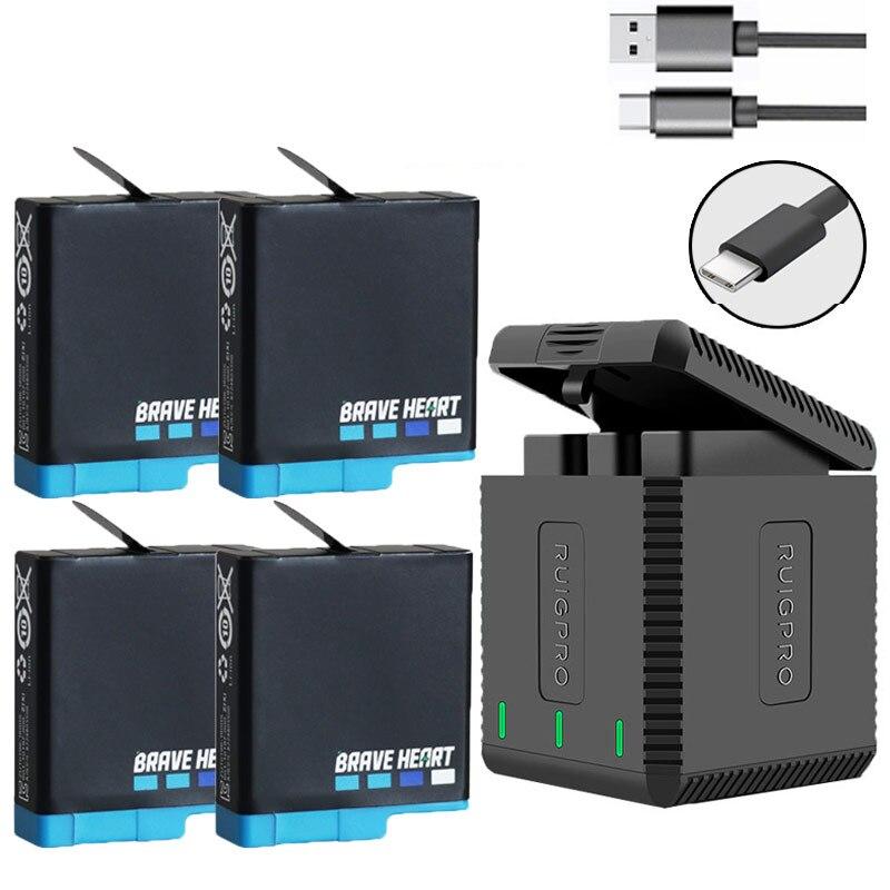 Haute qualité entièrement décoder Go pro Hero 8 batterie + 3 ports chargeur de TYPE-C pour GoPro Go pro Hero 5 6 7 8 accessoires de caméra noire