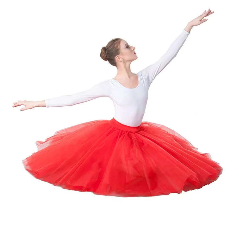 Image 5 - Professional Adults Ballerina Ballet Tutus White Black Pink Red Mesh Lace Long Tutu Elastic Waist Tulle Skirts Women Ball SkirtBallet   -