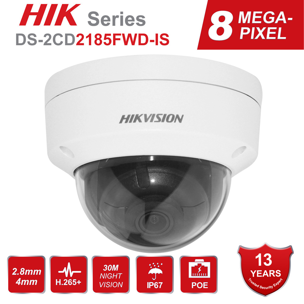 Hikvision 8MP IP מצלמה 4K H.265 + DS-2CD2185FWD-IS Ourdoor כיפת וידאו מעקב POE SD חריץ אודיו IP67 30m IR אנגלית גרסה