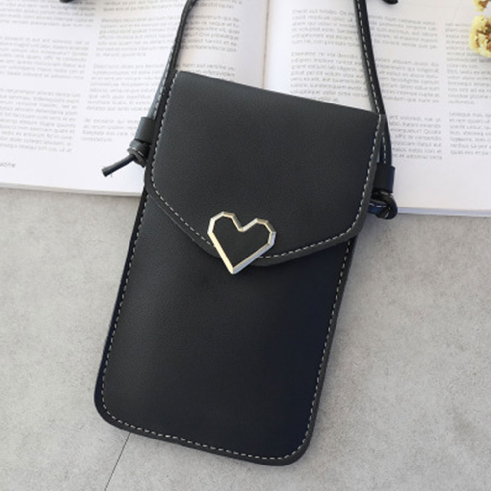Women Shoulder Mobile Phone Small Fashion Heart-shaped Decorative Crossbody Bag Convenient Outdoor Touch Screen PU Leather Gift