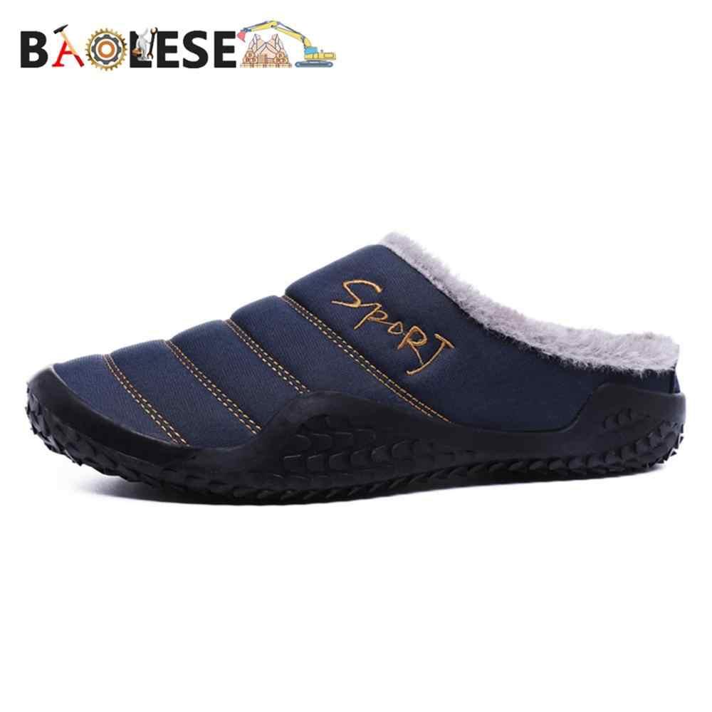 BAOLESEM รองเท้าแตะฤดูหนาว Man รองเท้าแตะบ้านรองเท้าผ้าฝ้ายขนแกะ Anti-Skid รองเท้าแตะ Man PLUS ขนาดคุณภาพสูง