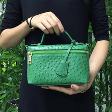 Luxury Designer Handbag Ostrich Pattern Leather Bags Women Clutch Bag Party Evning Trendy Green Ostrich Bag with Gold Chain(China)
