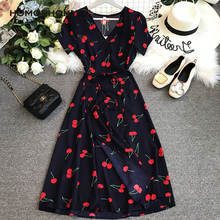 Homophony Cherry Dress A-Line Casual V-Neck Woman Dress Short Sleeve Knee-Length Summer Dress for Women Vestidos Robe Ropa Mujer