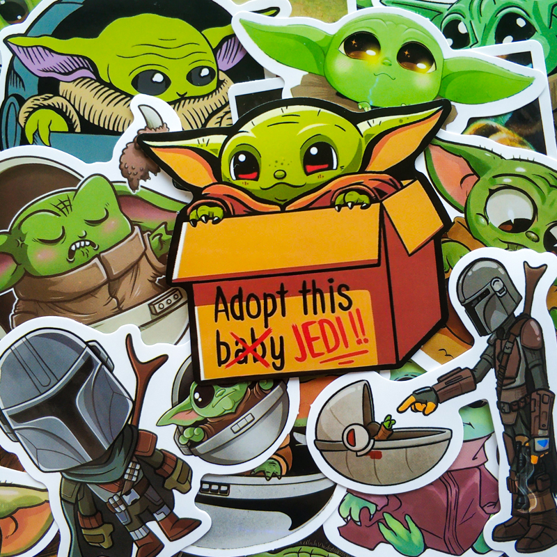 50PCS Baby Yoda Stickers Stat Cute Planet Wars The Mandalorian Stickers For Laptop Skateboard Home Decoration Car Scooter Decal