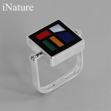 INATURE 925 סטרלינג כסף טבעי אבן גיאומטרי כיכר אצבע טבעות נשים תכשיטים מתנות