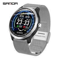 SANDA 2019 yeni ekg + PPG akıllı saat erkekler IP67 su geçirmez spor İzle nabız monitörü kan basıncı Smartwatch erkekler için saat