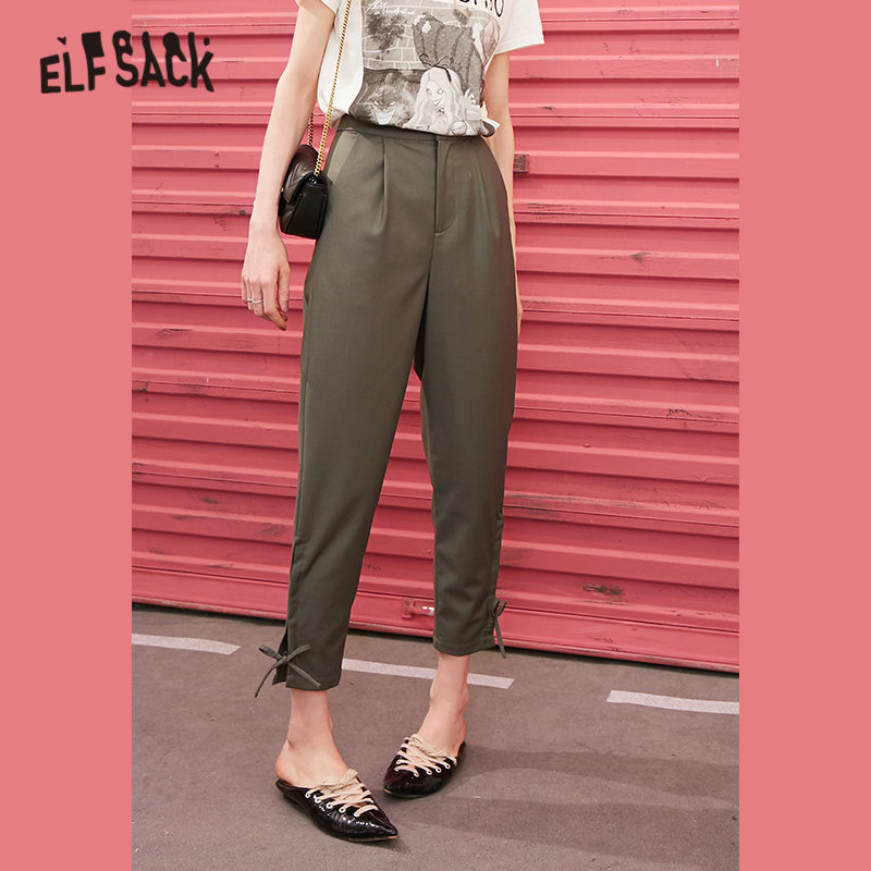ELFSACK Black Solid Criss Cross Hem Casual Women Trousers 2020 Spring Green Pure Lace Up Korean Office Ladies Daily Bottoms
