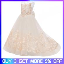 Girls dress Girls Lace Dress Floral Princess Tutu Dress Kids Party Wedding Bridesmaid Formal Trailing Sleeveless Dresses недорого