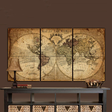 Pintura de lona de mapa del mundo grande de GoldLife de la pared del arte de la vendimia de la impresión multicolor 3 paneles del mapa antiguo para el hogar o arte de la Oficina