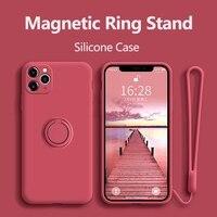 Funda de silicona líquida anticaída para teléfono Huawei, funda de soporte con anillo para Huawei Honor Mate Nova P30 P20 20 30 6 7I 5T 5I V30 Pro Lite SE 2019