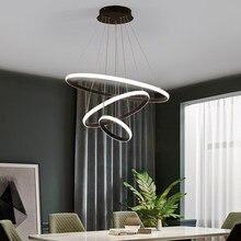 Moderno led lustre círculo luzes da sala de estar iluminação lustre moderno ouro rosa no quarto iluminação interior