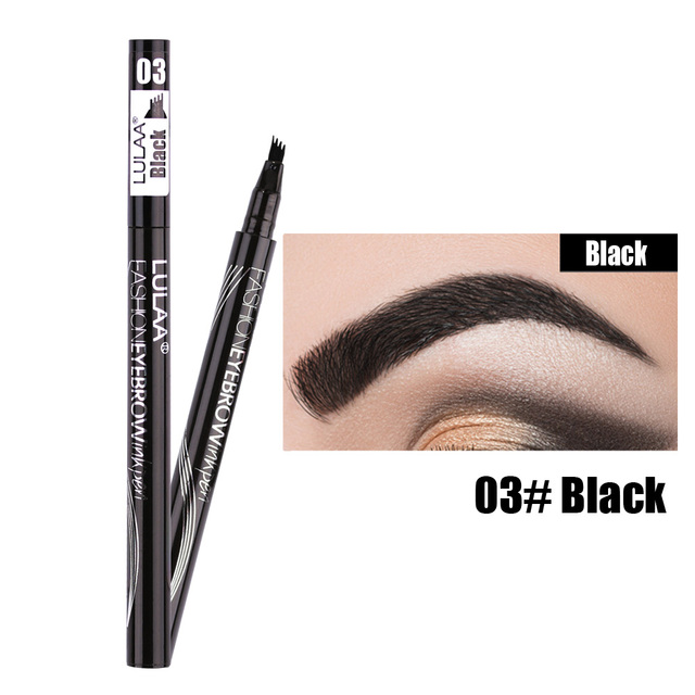 Waterproof Natural Eyebrow Pen Four-claw Eye Brow Tint Makeup three Colors Eyebrow Pencil Brown Black Grey Brush Cosmetics 5