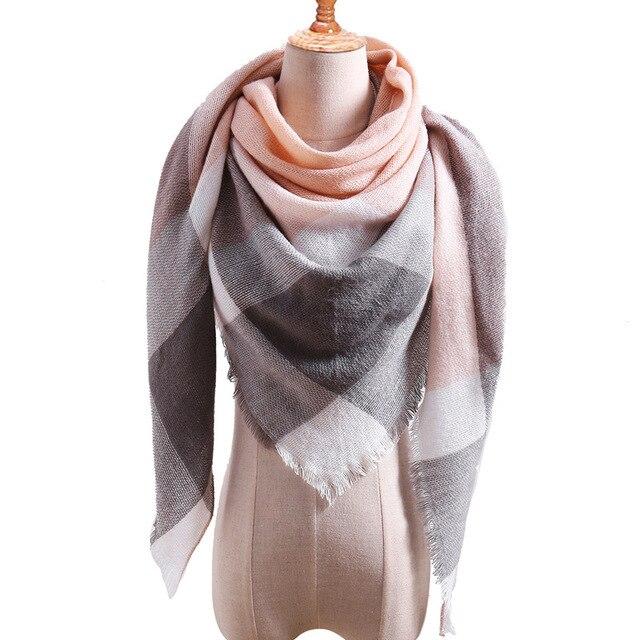 Plaid couleur Simple femmes écharpes 2019 triangulaire 140*140*210cm cachemire chaud automne hiver châles enveloppes écharpe pour les femmes