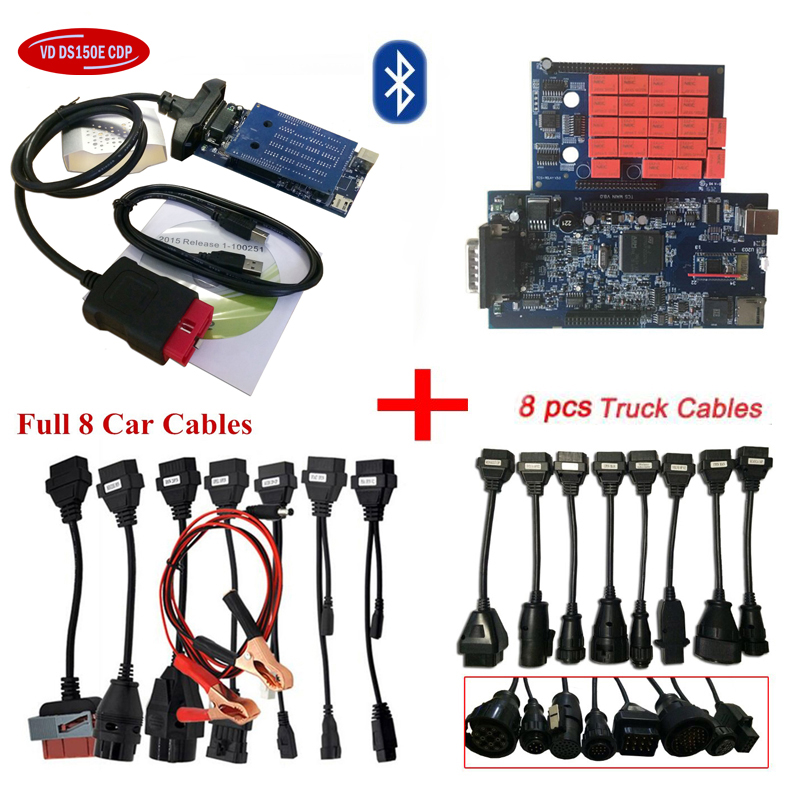 DHL FREE ship NEC relays green single PCB vd ds150e cdp for autocom OBD2 scanner with bluetooth+16pcs car/truck cables