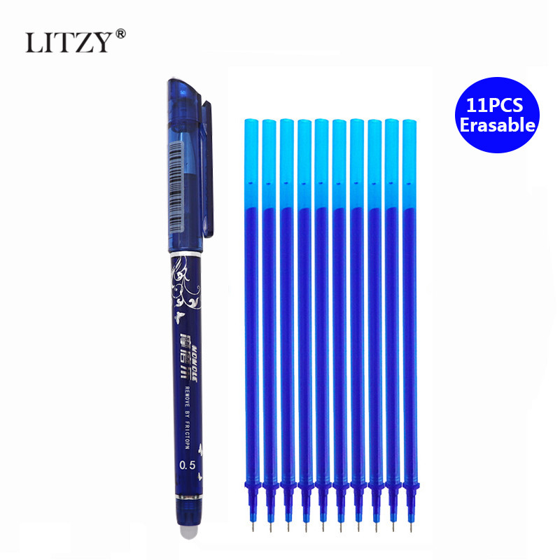 1+10Pcs/Set 0.5mm Erasable Pen Refill Rod Blue/Black Ink Magic Erasable Gel Pen For School Office Writing Supply StationeryTools