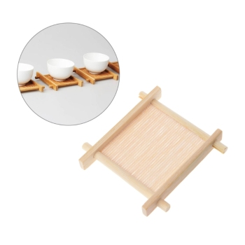 5pcs Solid Wood Tea Tray Drainage Cup Teapot Mat Gongfu Tea Table Serving Plate image