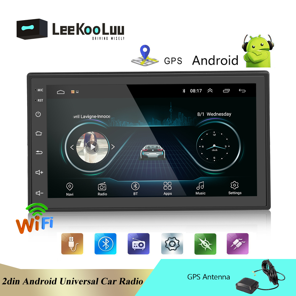 LeeKooLuu Android 2 Din Car Radio GPS Navigation Car Multimedia Player 2 din 7 Universal Auto Audio Radio Stereo Backup Monitor image