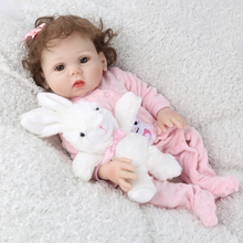 little girl Reborn Baby Dolls 45CM Very beautiful curly vinyl silicone Body Alive bebe Babies Doll kids game Toys Christmas gift