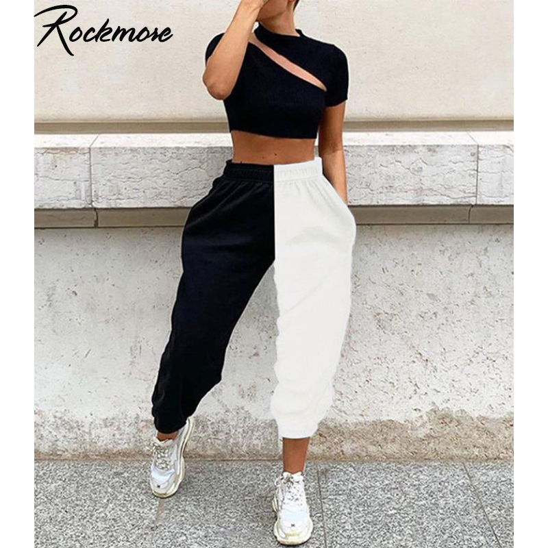 Rockmore Panelled Harajuku Wide Leg Pants Women Plus Size Contrast Color Trousers Oversized Sweat Pants Femme Winter Sweatpants