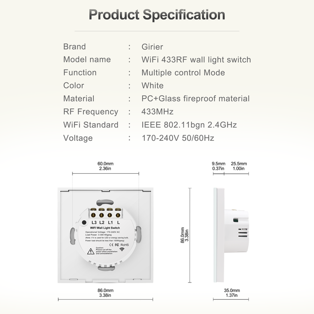 Wifi Wall Touch Switch EU No Neutral Wire Required Smart Light Switch 1 2 3 Gang 220V Tuya Smart Home Support Alexa Google Home 6