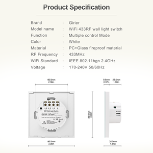 Image 5 - Wifi Wall Touch Switch EU No Neutral Wire Required Smart Light Switch 1 2 3 Gang 220V Tuya Smart Home Support Alexa Google Home