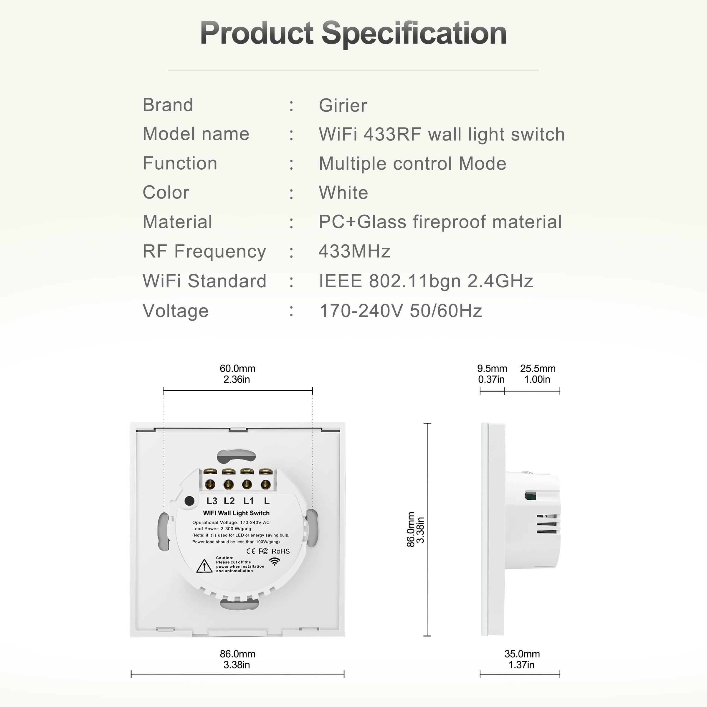 Wifi настенный сенсорный выключатель, ЕС, не требуется нейтральный провод, умный светильник, 1, 2, 3 банды, 220 В, Tuya, умный дом, поддержка Alexa Google Home