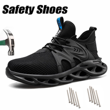 Safety Shoes Men Lightweight Steel Toe Cap Anti-smashing Anti-piercing Knitting Boots Large Comfortable Indestructible Sneakers
