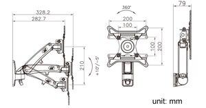 """Image 5 - 30 """" 40"""" NB F200 ressort à gaz plein mouvement LED LCD TV montage mural support de moniteur de Rotation rétractable capacité de charge 11 ~ 22lbs(5 ~ 10kgs)"""