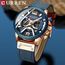2021 CURREN mężczyźni zegarki Top marka luksusowe niebieska skóra Chronograph Sport zegarek dla mężczyzn moda data wodoodporny zegar Reloj Hombre tanie tanio 24cm Moda casual QUARTZ 3Bar Sprzączka CN (pochodzenie) STOP 14mm Hardlex Kwarcowe zegarki Skórzane 54mm CR-8329 24mm