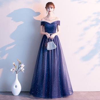 Niebieska marzycielska suknia wieczorowa gwiaździste niebo Celebrity suknia bankietowa błyszczące cekiny sukienka na studniówkę elegancka sukienka Maxi O-neck XS-3XL tanie i dobre opinie POLIESTER Suknie DROBNY WZÓR CN (pochodzenie) N2091715 Navy Blue XS S M L XL XXL XXXL A-line Off Shoulder None Sequins