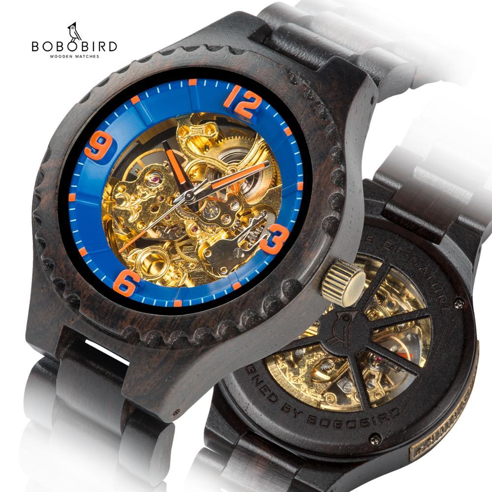 Automatic Mechanical Watches BOBO BIRD Watch Men часы мужские Wood relogio masculino Wedding  groomsman gift Dropshipping