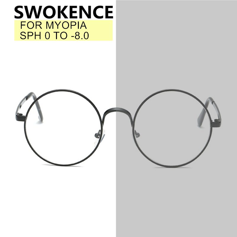 SWOKENCE SPH 0 To -8.0 Myopia Glasses Custom-made Men Women Photochromic Anti Blue Ray Prescription Spectacles Nearsighted WP006