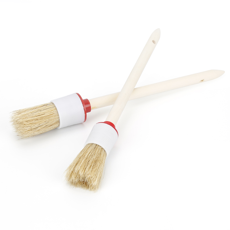 1Pcs Soft Car SUV Detailing Wheel Wood Handle Brushes 20-45mm For Cleaning Dash Trim Seats Handy Car Cleaning Tool