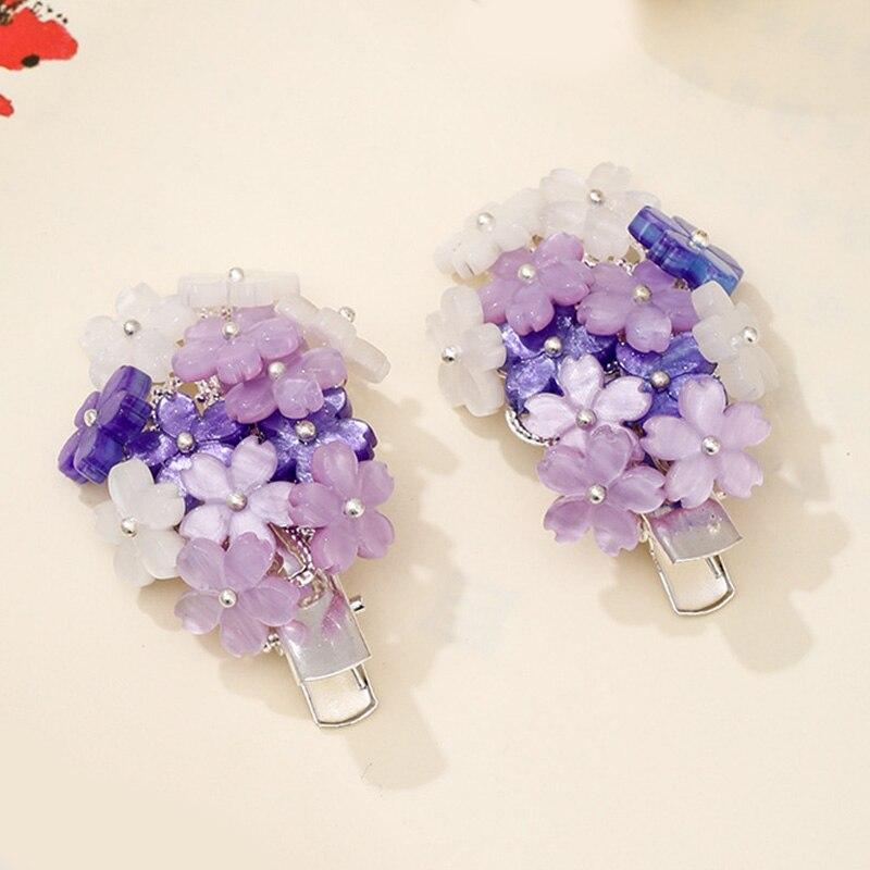 FORSEVEN-horquillas de flores rosas de estilo chino antiguo, Clips laterales para vestido Hanfu de Cosplay para mujeres y niñas, joyas de decoración para el cabello