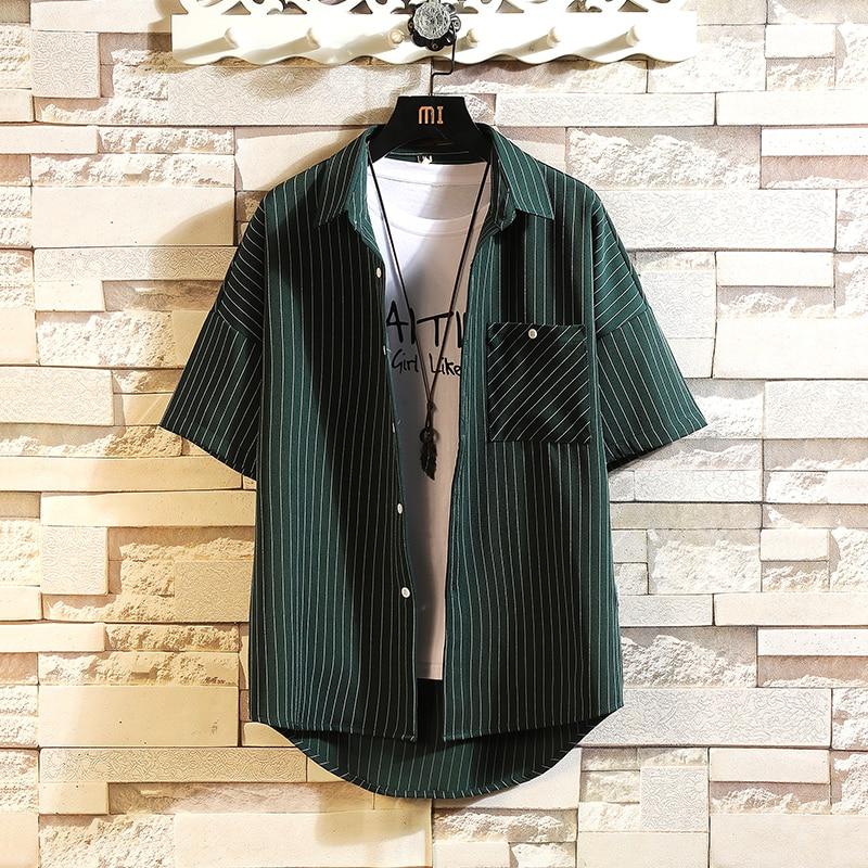Brand 2021 Summer Black Men's Beach Shirt Fashion Short Sleeve Loose Casual Plus OverSIZE M-4XL 5XL Hawaiian Men Men's Clothings Men's Shirts Men's Tops