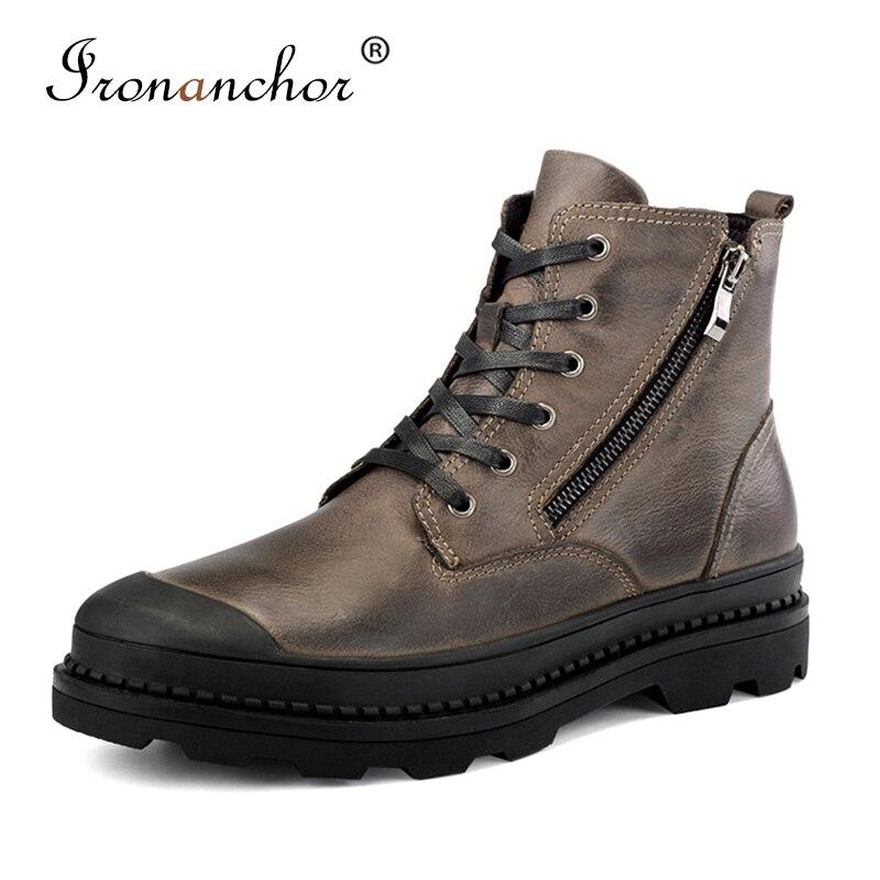2019 bottes en cuir de vache véritable hommes neige à la main chaud hommes chaussures bottes d'hiver # SB9550