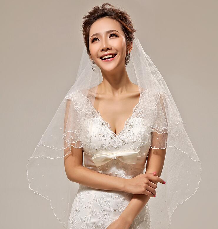 Vestidos Para Casamento Veils With Pearls Vestidos De Noivas Bride Veil Wedding Accessories Voile Mariage Moonshine Accessories