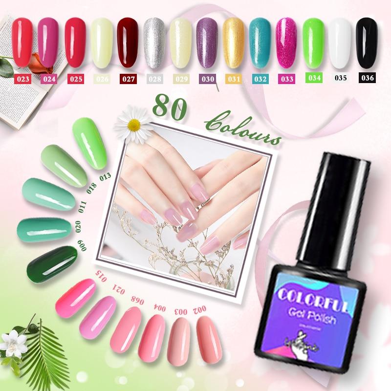 Новый 80 цветов Гель-лак УФ излечимый полимерный гель лампа для полировки ногтей Полупостоянный лак для ногтей геллак телесный гель отсутствие ногтей