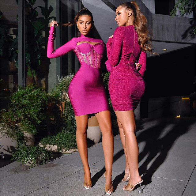 Deer Lady Winter Women Bandage Dress 2021 New Sexy Long Sleeve Bandage Dress Bodycon Lace Patchwork Celebrity Club Party Dress 3