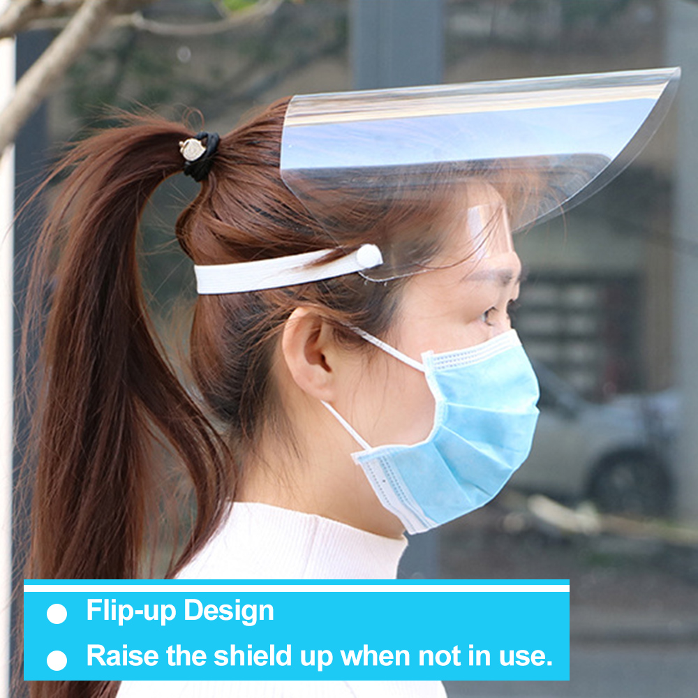 20pcs Anti-Splash Clear Face Cover with clear Vision and Elastic Headband for Full Face Protection